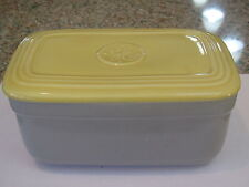 Vintage Hall gray & Yellow G E Refrigerator rectangular storage container-excond