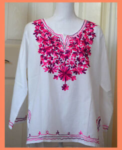 Pink Purple Embroidered Flowers White Color Cotton Tunic Top Kurti from India XL