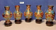 """Vintage Cloisonne Vase 5-Pc Set 3"""" w/stand, Traditional Chinese Art, Collectible"""