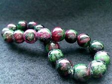 9MM Rare 5A Natural Ruby in Zoisite Crystal Round Beads Stretch Bracelet BL9018