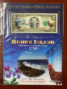 New England Mint Colorized $2 Dollar Bill Rhode Island