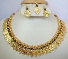 South Indian Traditional Jewellery Green stone Lakshmi Kasu mala with earring