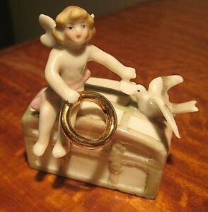 Vintage Wedding Cake Small Topper Ring Porcelain Germany Figurine Lucky Charm