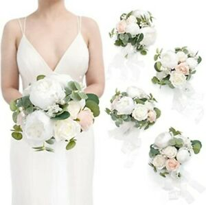 """4x Ling's Moments 7"""" Flowers Wedding Bridal Bouquets White/Champagne New"""