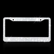 Nice Metal License Plate Frame Bling Rhinestone Chrome Crystal Diamond 2 Holes