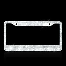 Metal License Plate Frame Bling Rhinestone Chrome Crystal Diamond 2 Holes 1 Set