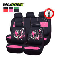 Universal Auto Car Seat Covers Pink Black Interior Accessories Airbag Compatible