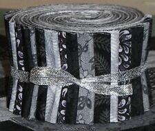 "Quilting Fabric Jelly Roll Strips 20~2.5"" Black Gray 100% Cotton Quilt Fabric"