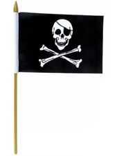 1 x 1.5' Skull Flags Wooden Dowel Parade Pirate Flags