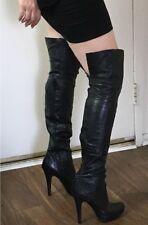 💜 REPORT SIGNATURE 💜 FAIRFAX 7 BLACK LEATHER OTK Thi Hi BOOTS Club Stripper