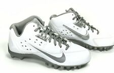 Youth Nike Air Speed Lacrosse Lax 4 Turf Cleats White/Silver 616299-100 Size 3.5