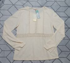 NWT Skies are Blue Sada Top in ivory Womens size S crochet long sleeve