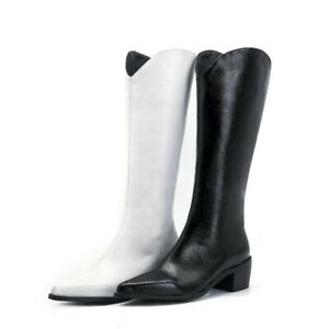 Women Western PU Leather Pointy Toe Chunky Low Heel Mid Calf Knee Boots 47 48 L