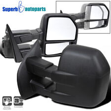 For 2015-2019 Ford F150 Black Manual Extendable Towing Mirrors Driver+Passenger