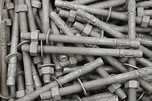 (15) Galvanized Concrete Wedge Anchor Bolts 1/2 x 7 Includes Nuts & Washers
