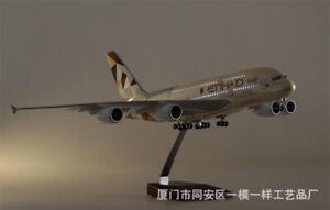 1/160 Etihad Airplane Model A380 LED Lamp Resin Aircraft 43cm Passanger Plane