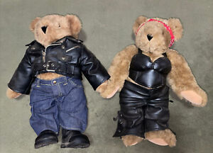 Vermont Teddy Bear Set Biker Harley Davidson Leather Jacket Couple