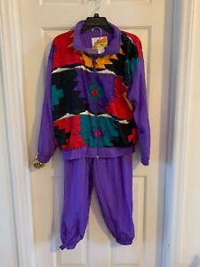Vintage Women's Resort Bay Purple Wind Suit Petite Large PL