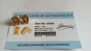 9CT GOLD AND GOLDEN SAPPHIRE EARRINGS CERTIFICATE OF AUTHENTICITY GEMS TV