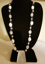 SILVER TONE BEAD, CLASP- WHITE MOON GLOW STONE & LUCITE BEADED WIRE NECKLACE