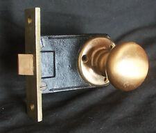 Antique Vintage NOS Bronze Brass Interior Passage Door Lockset Knob Plate Lock