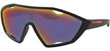 Prada Linea Rossa Men's Black Rubber Shield Sunglasses - PS10US DG09Q1 30 Italy
