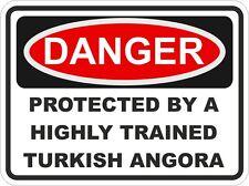Raza Gato Angora turco peligro Pegatina PET para puerta de coche de parachoques Locker
