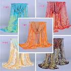 Noble Fashion Women's Long Soft Wrap Lady Shawl Peacock Silk Chiffon Scarf