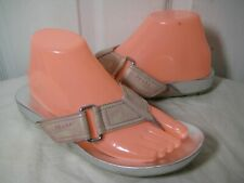 PRADA Leather Light Pink / Silver Thongs Flip Flop Sandals Shoes Size 38 / 7