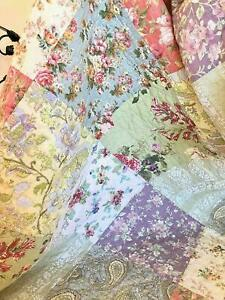 BEAUTIFUL COZY COUNTRY XXL BEDSPREAD : PATCHWORK PINK ROSE BLUE SHABBY FLORAL