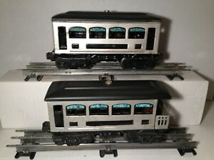 Lionel Silver/Black Painted Tin Coach & Observation Lighted Cars (2)