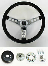 "Grant 1965-1969 Ford Mustang Steering Wheel Black Grip 13 1/2"" chrome spokes"