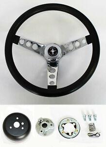 """Grant 1965-1969 Ford Mustang Steering Wheel Black Grip 13 1/2"""" chrome spokes"""