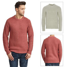 Brave Soul Mens Surgeon Chunky Cable Waffle Knitted Jumper Crew Neck Sweater Top