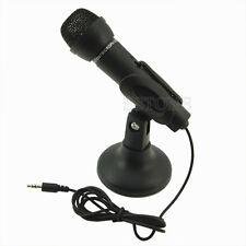 Black 3.5mm Mini Studio Speech Mic Microphone with Desktop Stand For PC Computer