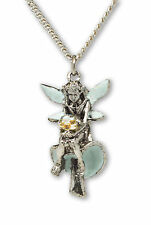 Pixie Fairy Sitting on Mushroom Necklace With Clear Faceted Crystal Ball NK-426