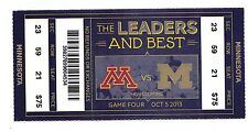 2013 Michigan Wolverines Vs Minnesota Golden Gophers Football Ticket Stub 10/5