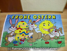 Fahne Flagge Frohe Ostern 3 Hasen Sonne - 90 x 150 cm