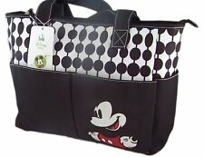 Mummy Maternity Nappy Diaper Bag Disney Mickey Mouse Large Tote Black White NWT