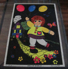 Vintage Flocked Velvet Black Light Poster 1975 C/C Sales Doll's World Rag Doll