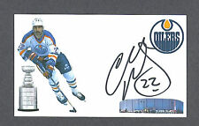 Charley Huddy signed Edmonton Oilers index card