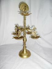 Indian / Thai brass incense burner / ashtray with peacock and elephants