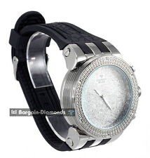 mens silver diamond clubbing sports watch ice out black sport strap Maxx Master