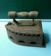 Antique Vintage Cast Iron SAD Coal Clothes Press RARE Latch Wood Handle Rusted