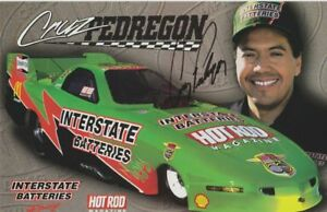 1998 Cruz Pedregon signed Interstate Batteries Pontiac Firebird FC NHRA postcard