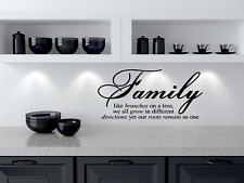 """Family Like Branches On A Tree vinyl wall quotes home art decor 12"""" x 22"""""""