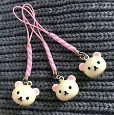 FD3690 Cute Rilakkuma Relax Bear Bell Keyring Key Chain Wallet Ring Beige 1pc