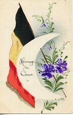 WW1 / CARTE POSTALE PEINTE / DRAPEAU / HOMMAGE DU COEUR