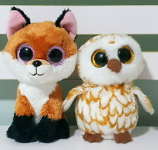 Lot of 2x TY Beanie Boos Swoops the Owl & Slick the Fox 13-16cm Tall!