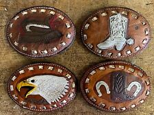 Fibbia in vera pelle fatta a mano vintage stile texano loghi cowboy per cintura